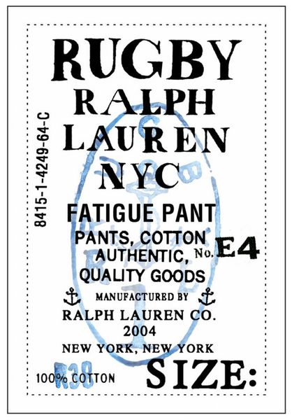 Rob Howell-Label for Fatigue Pant for Rugby